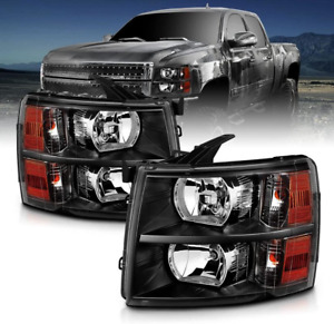 Car Part Fit For 07 14 Silverado Black Headlights Black Housing Lamps Left right