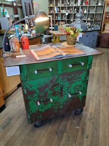 Industrial Factory Steel Cabinet Kitchen Island With Orig Casters