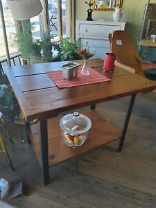 Industrial Table Kitchen Island With Reclaimed Wood Top Bolted Breadboard Ends