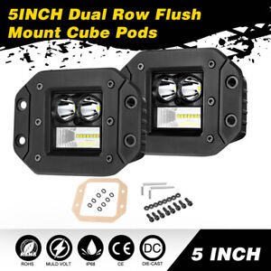 2x5 inch 216w Led Work Lights Flush Mount Light Bar Driving Off Road Combo Fog