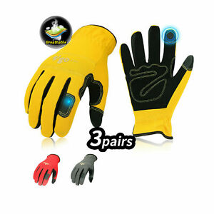 Vgo 3pairs Synthetic Leather Work Gloves Light Duty Mechanic Gloves nb7581