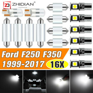 For Ford F250 F350 1999 2017 Usa White Roof Cab Marker Led Bulbs Interior Lights