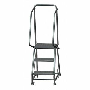 Ballymore H318p 58 1 2 In H Steel Rolling Ladder 3 Steps 450 Lb Load Capacity
