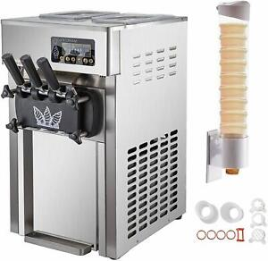 Vevor Commercial Soft Ice Cream Machine 3 Flavors 18l h Stainless Steel 1200w