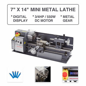 Mini Metal Lathe 7 X 14 3 4hp 550w Digital Display Metal Gear Variable Speed