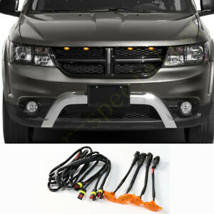 For Dodge Journey 2009 2020 Front Grille Led Light Raptor Style Grill Cover 4pcs