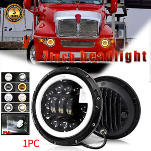 7 Inch Round Led Headlight Hi Lo Beam Halo Angel Projector For Kenworth T2000