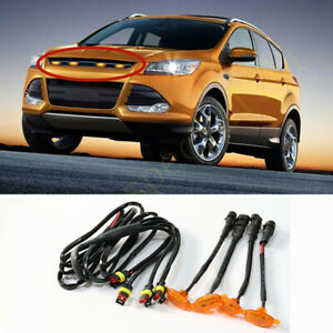 For Ford Escape 2013 2016 Front Grille Led Light Raptor Style Grill Cover 4pcs