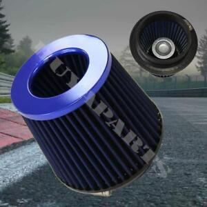 4 Blue Inlet High Flow Short Ram Cold Intake Round Cone Mesh Air Filter 4 Inch