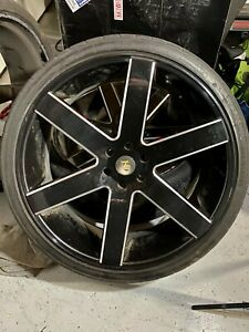 Black Rims K9 Chevy Tahoe Or Gmc 26 Inches With Tires 295 30 26
