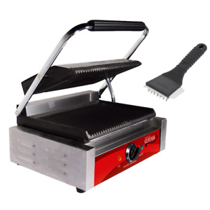 Commercial Panini Sandwich Electric Grill Grooved Plate Cast Iron W Grill Brush