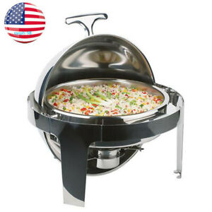 Usa Chafer Chafing Dish Roll Top Round Buffet Server Stainless Steel 6 Quart