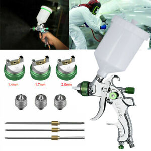 600cc Hvlp Spray Gun Kit Gravity Feed Vehicle Car Paint 1 4mm 1 7mm 2 0mm Nozzle