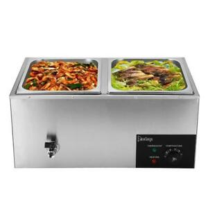 Restaurant 2 Pan Commercial Bain Marie Food Warmer Electric Steam Table 10 6qt
