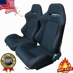 2pcs Universal Reclinable Sports Bucket Racing Seats Office Computer Chair Us