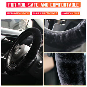 Fur Car Steering Wheel Cover Thick Furry Fluffy Warm Winter Black