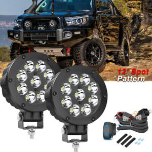 Pair 5inch 90w Cree Led Round Driving Lights Spot Lights Off Road 5 pin Wiring