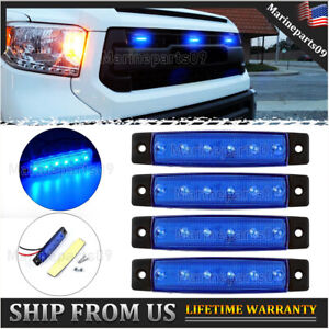 4 Pcs Universal Rectangle Blue Led Grille Lights For Ford Ram Tundra Jeep 12v