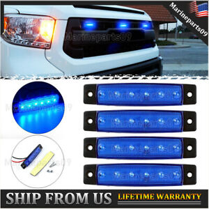 4 Pcs Universal Rectangle Blue Led Grille Lights For Ford Ram Tundra Jeep 12v Fits 1955 Ford