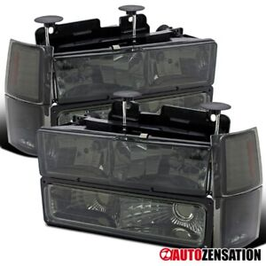 For 94 98 Chevy C10 C K 1500 2500 3500 Smoke Headlights Corner Bumper Lamps