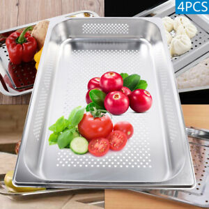 4pcs Perforated Steam Table Pan Stainless Steel Vegetable fruit Filter Basket