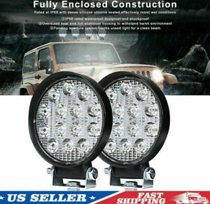2x Led Work Light Spot Lights For Truck Off Road Tractor Round 42w H219