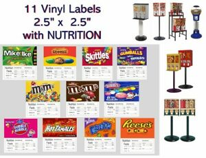 11 Product Vending Machine Candy Nutrition Stickers Labels