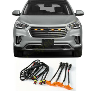 For Hyundai Santa Fe 2013 18 Front Grille Led Light Raptor Style Grill Cover 4p
