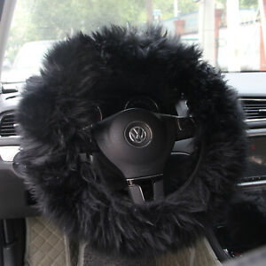 3pcs Black Fur Wool Furry Fluffy Thick Car Steering Wheel Cover For Winter