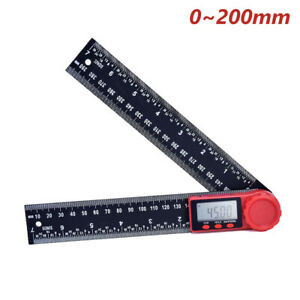 8 Electronic Digital Angle Finder Lcd Protractor Ruler Stainless W Battery
