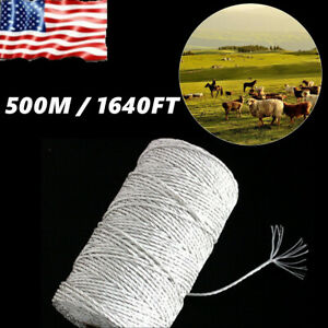 500m 1640ft Electric Fence Wire Polyrope Fence Rope Conductive For Livestock