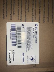 Bd Syringe 3ml Luer lok Tip New Box Of 200 Ref 309657 Exp Date 02 24 No Ndle