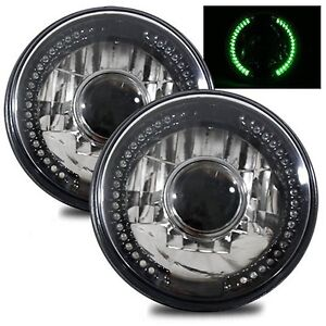 7 Round H6014 h6015 h6024 Black Crystal Headlights With Green Led Halo Ring