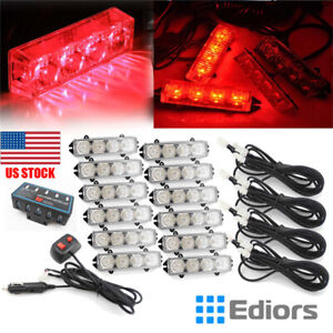12x Led Red Vehicle Auto Boat Emergency Hazard Warning Grill Strobe Lights Bar