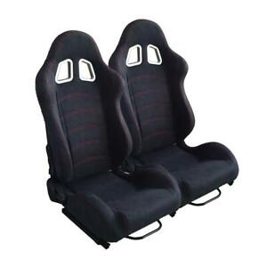 Black Doublr Red Stitch Reclinable Cloth Racing Seat Universal
