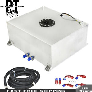 20 Gallon Polished Aluminum Fuel Cell Tank Level Sender 10ft Fuel Line Kit