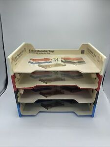 Vintage Eldon Stackable Tray Office Desk Organizer File White Red Black Blue
