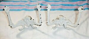 Antique Salvage Two Shabby Chic Cast Iron Double Hat Coat Hooks 2419