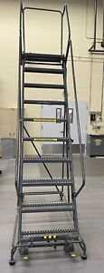 Ballymore10 Step 24 Wide Steel G Tread Safety Angle Rolling Ladder W handrail