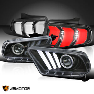 Sequential Led Style For 2010 2012 Mustang Black Projector Headlights Tail Lamps