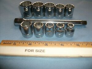 11 Piece 3 8 Drive Williams Tool Lot Ten Sockets One 6 Extension