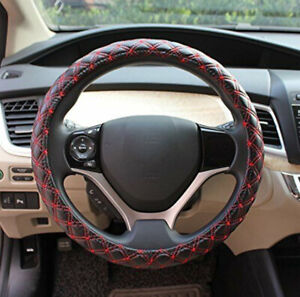 For 38cm 15 Black Red Pu Leather Car Auto Steering Wheel Cover Mesh Universal