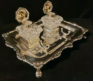 Antique Edwardian Sterling Hallmarked Solid Silver Standish Desk Stand Pristine