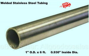Round Tubing 304 Stainless Steel 1 Od X 6 Ft Welded 0 930 Inside Dia