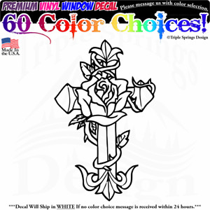 Rose Covered Cross Lord God Jesus Holy Vinyl Decal Sticker Window Truck Car