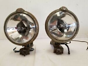 Vintage Unity Mid Century 6v Battery Power Portable Sealed Beam Light Pair