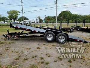 New 2021 7 X 20 14k Flatbed Steel Deck Power Tilt Equipment Car Hauler Trailer