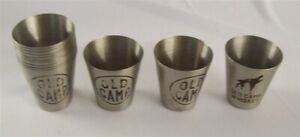 Restaurant Supplies 6 Stainless Steel Old Camp Whiskey Brand Shot Glasses
