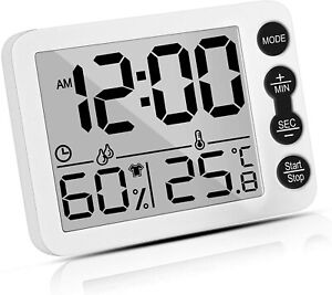 2 1 Hygrometer Thermometer timer Lcd Humidity Monitor Meter Alarm Clock Us