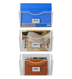 Pag 3 Pockets Hanging File Holder Wall Mount Mail Organizer Metal Chicken Wire